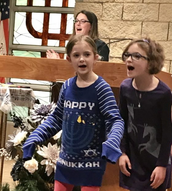 Carrie and kids Hanukkah 2018