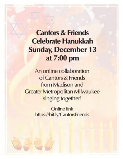 Cantor Martin and Marsha Fensin will be participating in the performance.